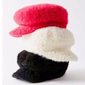 Urban Outfitters Pink Fuzzy Newsboy Hat